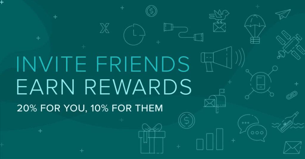 Poloniex invite friends - earn rewards infographic