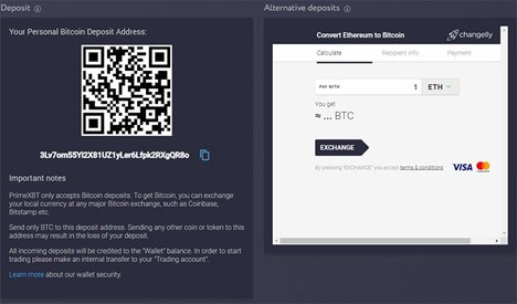 PrimeXBT deposit option