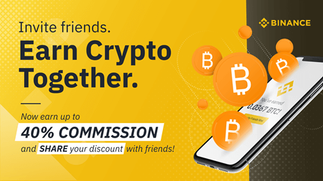 Binance invite friends graphic - earn crypto together