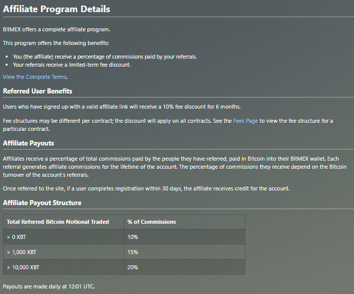 BitMEX affiliate program details