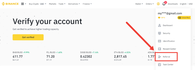 Navigating to the referral section of Binance
