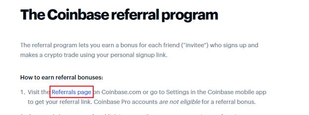Coinbase referral program terms