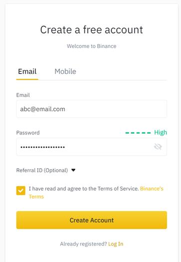 Binance registration form