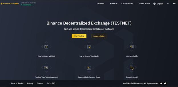 Binance Decentralized Exchange (TESTNET) interface