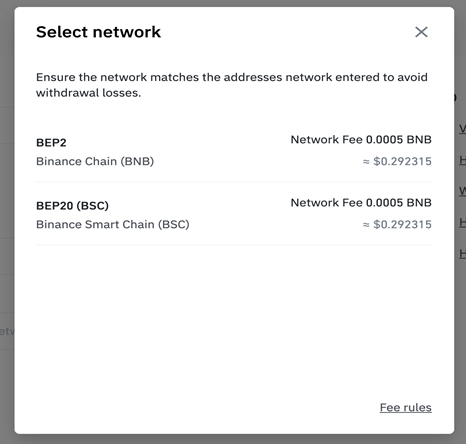 Select network to withdraw on