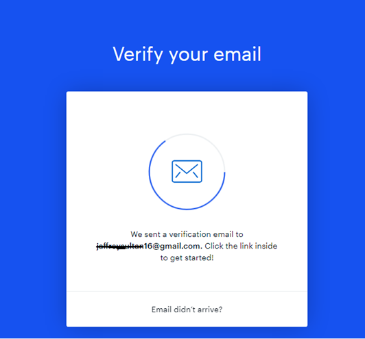 Coinbase Verify your email screen