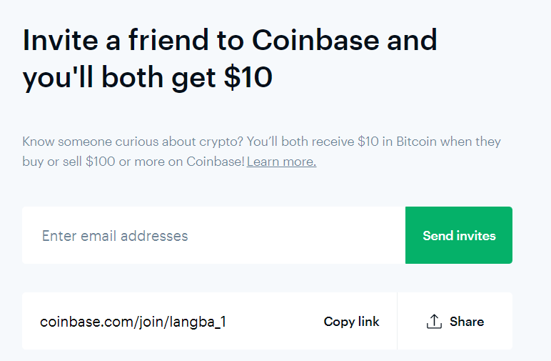Coinbase invite a friend banner
